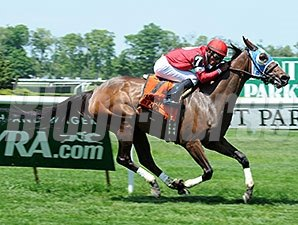 Invading Humor wins the 2015 Mount Vernon Stakes.