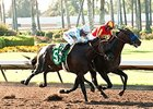 Gimme Da Lute Holds On in Los Alamitos Derby