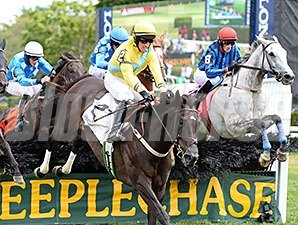 Choral Society (right) upsets the A. P. Smithwick Memorial Steeplechase.