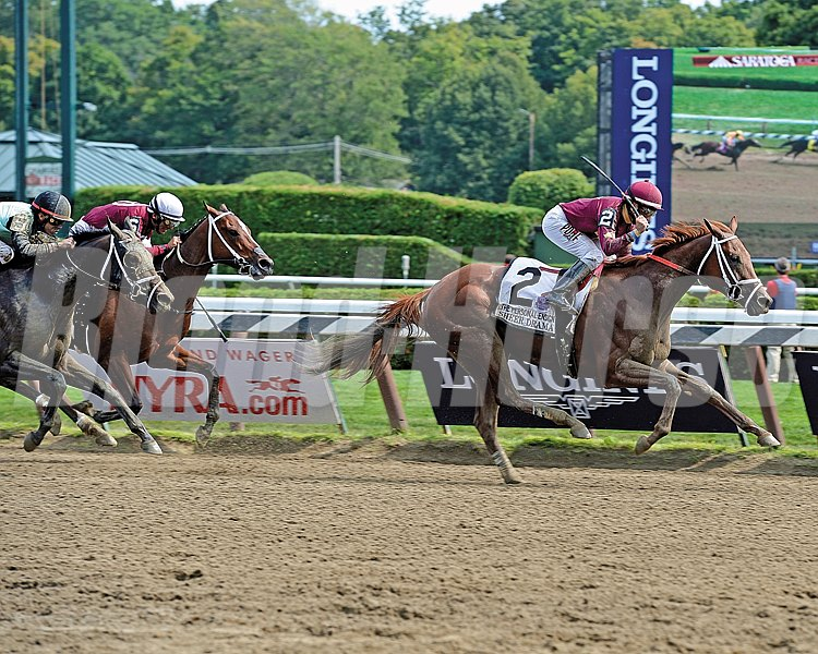 Sheer Drama and jockey Joe Bravo overpower the rest of the field in the Personal Ensign Stakes at Saratoga.