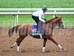 Lea breezed four furlongs in :47 2/5 under exercise rider Rodolphe Brisset on Oct. 26.