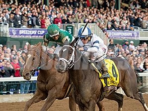Stopchargingmaria wins the 2015 Breeders' Cup Distaff.