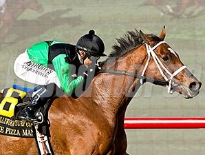 The Pizza Man wins the 2015 Hollywood Turf Cup.