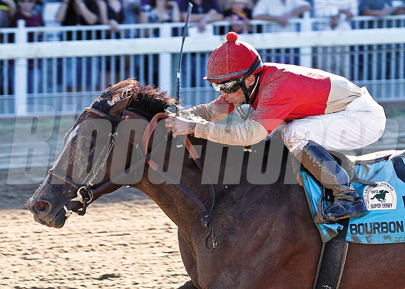 9/8/2012  -  Bourbon Courage with jockey Leandro Goncalves up wins the 33rd running of the Grade II $500,000 Super Derby at Louisiana Downs.  Hodges Photography / Lynn Roberts