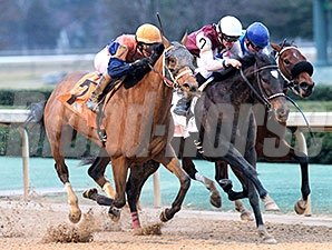 Call Pat (outside), by Lawyer Ron, winning Oaklawn's Bayakoa Stakes