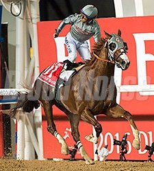 California Chrome and Victor Espinoza take the Dubai World Cup.