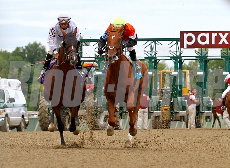 "In a two horse race today, Old Time Hockey #9 ridden by Brian Pedroza road to victory against Dorsett #10 ridden by Paco Lopez in the $90,000 ""Steinlen"" at Parx Racing in Bensalem, Pennsylvania."