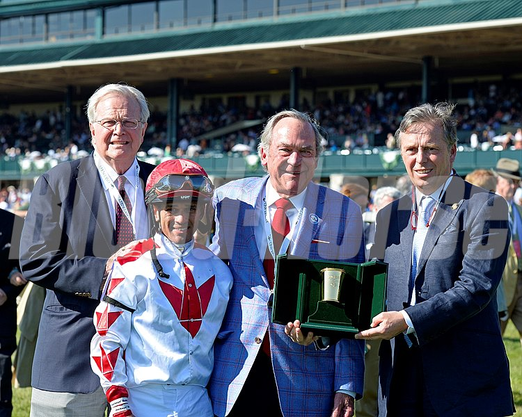 PRES: l-r, John Adger, Javier Castellano, owner Peter Fluor, presenter Guy Henderson.