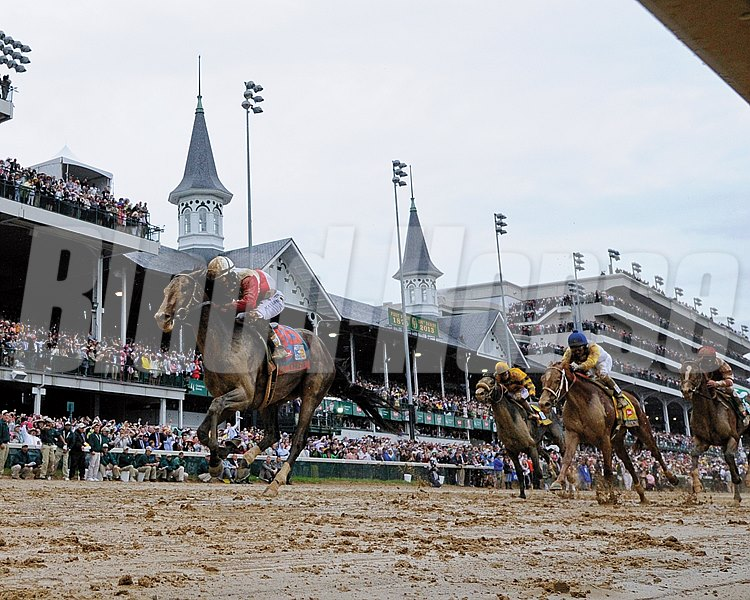 Orb takes the 139th edition of the Kentucky Derby (gr. I) with jockey Joel Rosario in the irons and it gave trainer Shug McGaughey his first win in the classic May 4, 2013 at Churchill Downs in Louisville, Kentucky.