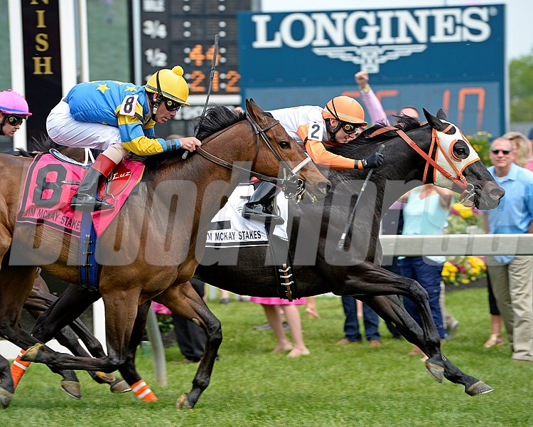 Ben's Cat with Trevor McCarthy wins the 2016 Jim McKay Turf Sprint for King Leatherbury Preakness week at Pimlico in Baltimore, Md., on May 20, 2016.