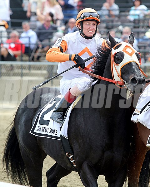 Ben's Cat with Trevor McCarthy after winning the 11th Running of The Jim McKay Turf Sprint at Pimlico on May 20, 2016.