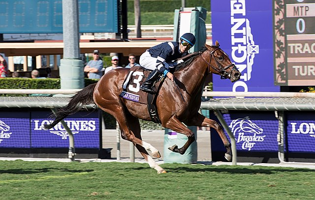 Oscar Performance, with Jose Ortiz up, wins the Juvenile Turf (gr. IT) at Santa Anita on Nov. 4 in Arcadia, Calif.