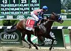 "Bayern streaks to victory in the Woody Stephens Stakes. <br><a target=""blank"" href=""http://photos.bloodhorse.com/AtTheRaces-1/At-the-Races-2014/i-j8LjRWF"">Order This Photo</a>"