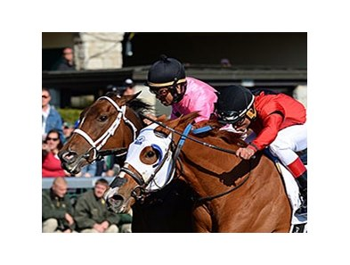 Rosalind (right) and Room Service finished together in the Ashland at Keeneland.
