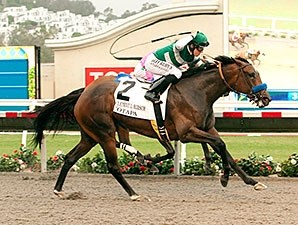 Iotapa finishes strong to win the Clement L. Hirsch Stakes.