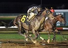 Jessica's Star (outside) gets by Embellishing Bob to win the Iowa Derby.