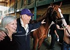 Bill and Betty Currin with Stormello at Hollywood Park.