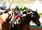 Rich Tapestry (right) gets his nose in front of Goldencents to win the Santa Anita Sprint Championship.