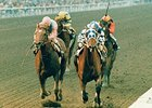 Alysheba (right) defeated Ferdinand by 1/2 length in the 1988 Santa Anita Handicap.