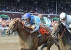 "V. E. Day and Jose Lezcano get up late to win the Curlin Stakes.<br><a target=""blank"" href=""http://photos.bloodhorse.com/AtTheRaces-1/At-the-Races-2014/i-pcq5c2h"">Order This Photo</a>"