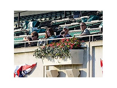 "Art Sherman watched California Chrome on the track on June 3. <br><a target=""blank"" href=""http://photos.bloodhorse.com/TripleCrown/2014-Triple-Crown/Belmont-Stakes-146/i-6KRzD7N"">Order This Photo</a>"