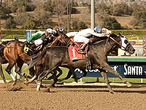 Sahara Sky surges late to win the San Carlos Stakes.