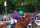 California Chrome racing in his nasal strip.