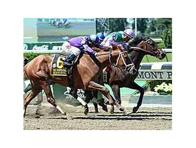 "Close Hatches holds off Princess of Sylmar to take the Ogden Phipps Stakes. <br><a target=""blank"" href=""http://photos.bloodhorse.com/AtTheRaces-1/At-the-Races-2014/i-6DRkBMt"">Order This Photo</a>"