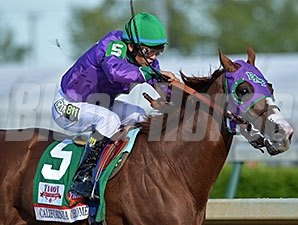 California Chrome winning the Kentucky Derby.