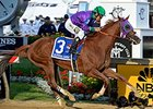 "California Chrome<br><a target=""blank"" href=""http://photos.bloodhorse.com/TripleCrown/2014-Triple-Crown/Preakness-Stakes-139/i-zZhrS6v"">Order This Photo</a>"