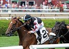 "Daring Dancer finishes fast to take the Lake George Stakes.<br><a target=""blank"" href=""http://photos.bloodhorse.com/AtTheRaces-1/At-the-Races-2014/i-zMf59kH"">Order This Photo</a>"