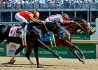 "Central Banker outfinishes Shakin It Up to win the Churchill Downs Stakes.<br><a target=""blank"" href=""http://photos.bloodhorse.com/AtTheRaces-1/At-the-Races-2014/i-NxpJrzH"">Order This Photo</a>"