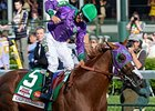 "California Chrome will return to the worktab Aug. 8.<br><a target=""blank"" href=""http://photos.bloodhorse.com/TripleCrown/2014-Triple-Crown/Kentucky-Derby-140/i-cmN4xCt"">Order This Photo</a>"