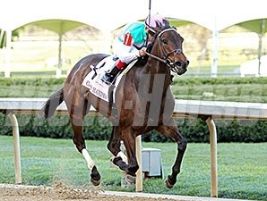 Close Hatches rolls to victory in the Apple Blossom at Oaklawn.