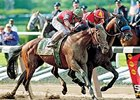 Victory Gallop (outside) nips Real Quiet in the Belmont to end his bid for the Triple Crown.