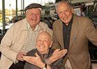 Mickey Rooney, center, with Dick Van Patten and Mel Brooks at Santa Anita Park.