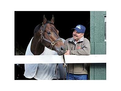 "Trainer Billy Gowan and Ride on Curlin <br><a target=""blank"" href=""http://photos.bloodhorse.com/TripleCrown/2014-Triple-Crown/Belmont-Stakes-146/i-CKnDk6P"">Order This Photo</a>"
