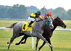 "My Afleet (outside) outfights Medal Count to win the Dueling Grounds Derby. <br><a target=""blank"" href=""http://photos.bloodhorse.com/AtTheRaces-1/At-the-Races-2014/i-LH7Tfzt"">Order This Photo</a>"