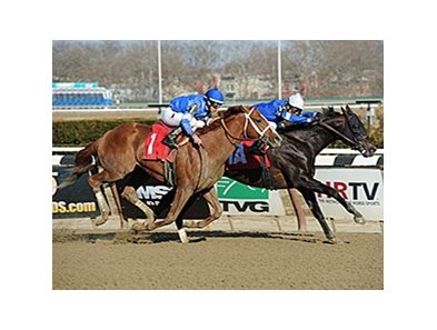 Romansh holds off entrymate Long River to take the Excelsior Stakes at Aqueduct.