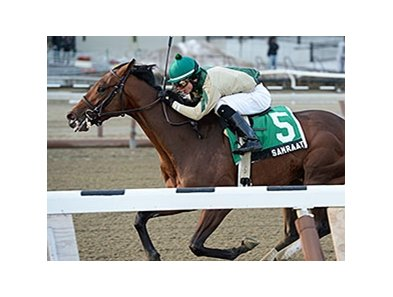 "Samraat and Jose Ortiz take Withers Stakes.<br><a target=""blank"" href=""http://photos.bloodhorse.com/AtTheRaces-1/At-the-Races-2014/35724761_2vdnSX#!i=3053688097&k=PMZv7HJ"">Order This Photo</a>"