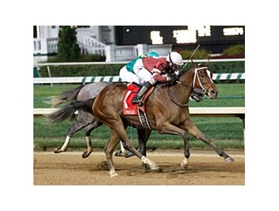 Untapable outfinishes Stonetastic to win the Pocahontas Stakes.
