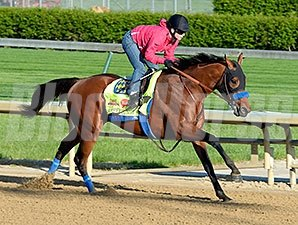 Hoppertunity breezed five furlongs in 1:00 1/5 on April 23.
