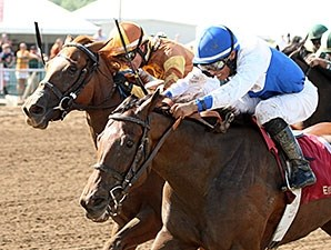 Molly Morgan holds off Tapit's World to take the Gardenia Stakes at Ellis Park.