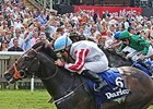 "Slade Power comes home strong to take the Darley July Cup.<br><a target=""blank"" href=""http://photos.bloodhorse.com/AtTheRaces-1/At-the-Races-2014/i-dL87Qvt"">Order This Photo</a>"
