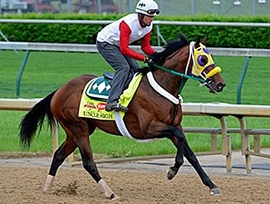 Uncle Sigh jogs at Churchill Downs April 29.