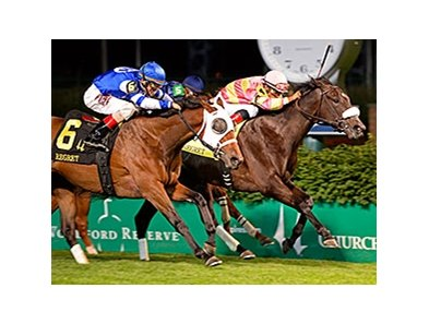 "Aurelia's Belle (left) finished second in the Regret Stakes, but was placed first.<br><a target=""blank"" href=""http://photos.bloodhorse.com/AtTheRaces-1/At-the-Races-2014/i-5THBHBS"">Order This Photo</a>"