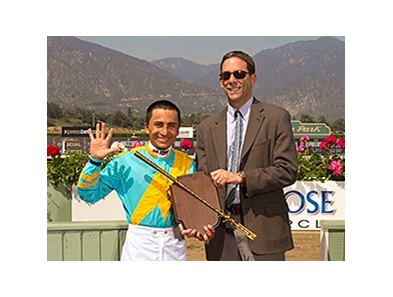 Rafael Bejarano is the Leading Santa Anita jockey for the Spring meet.