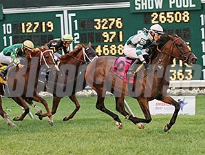 Rusty Slipper rolls home to win the Violet Stakes at Monmouth Park.