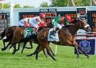 "Euro Charline comes home strong to take the Beverly D. <br><a target=""blank"" href=""http://photos.bloodhorse.com/AtTheRaces-1/At-the-Races-2014/i-BJWhx3g"">Order This Photo</a>"
