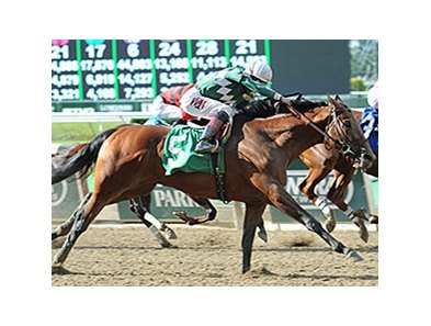 "Zivo flew late to take the Commentator Stakes.<br><a target=""blank"" href=""http://photos.bloodhorse.com/AtTheRaces-1/At-the-Races-2014/i-9CbKRHV"">Order This Photo</a>"